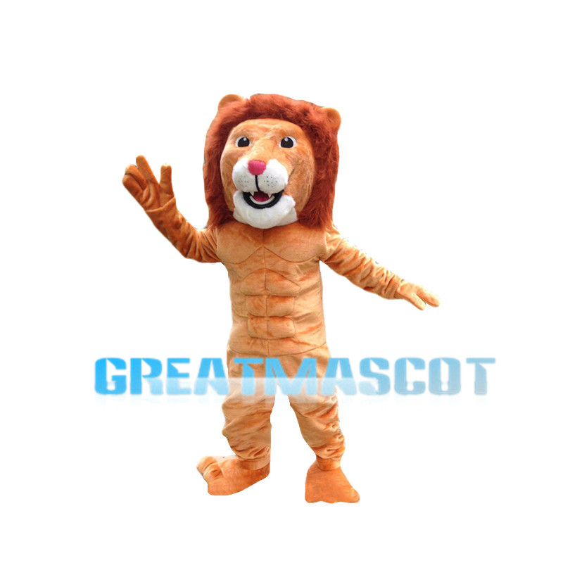 Power Red Brown Lion Animal Mascot Costume