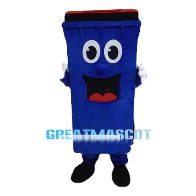 Cartoon Blue Outdoor Trash Can Mascot Costume