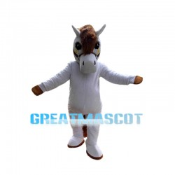 Good Looking White Horse Long Hair Mascot Costume