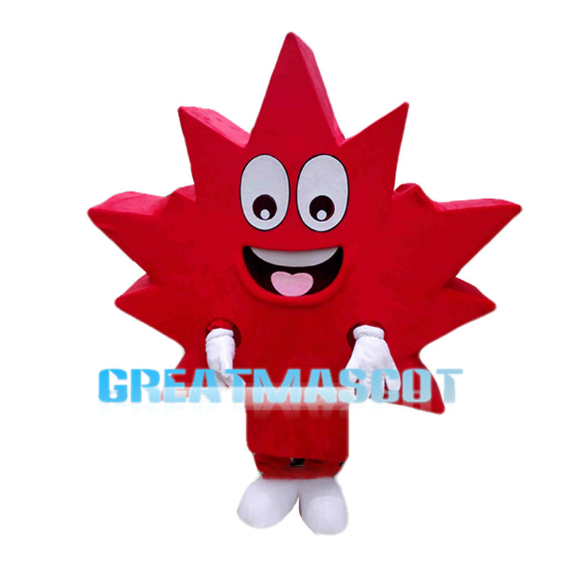 Cheerful Cartoon Red Maple Leaf Mascot Costume