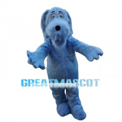 Long Fur Blue Dog Mascot Costume
