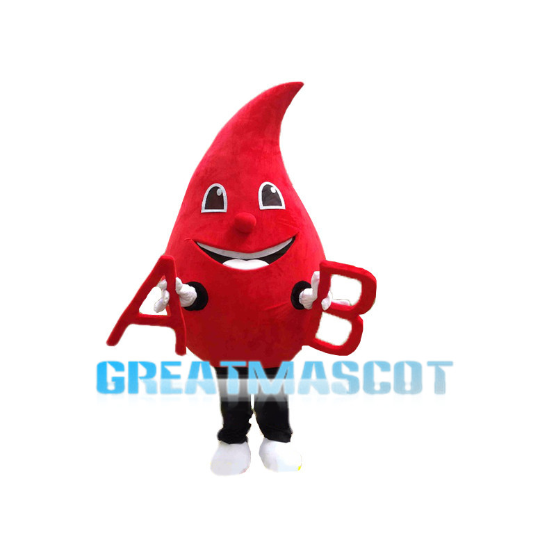 Cartoon Blood Drop Mascot Costume With A And B