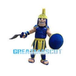Shouting Blue & Yellow Spartan Warrior Mascot Costume