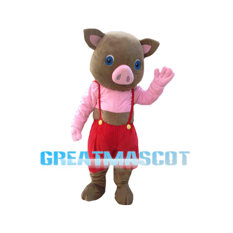 Cute Cartoon Brown Baby Pig Mascot Costume