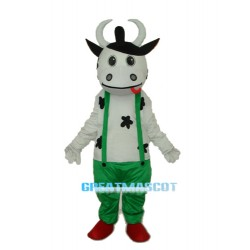 Cow in Green Overall Mascot Adult Costume Free Shipping
