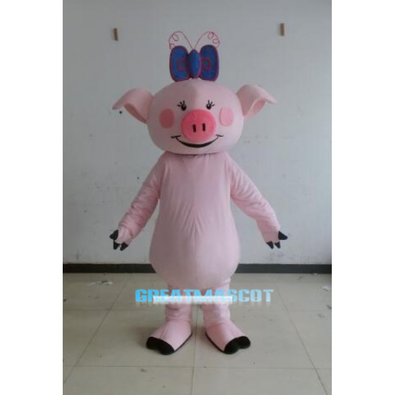 Character Adult cute pink pig Mascot Costume Free Shipping
