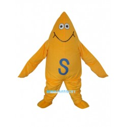Yellow Starfish Short Plush Adult Mascot Costume Free Shipping