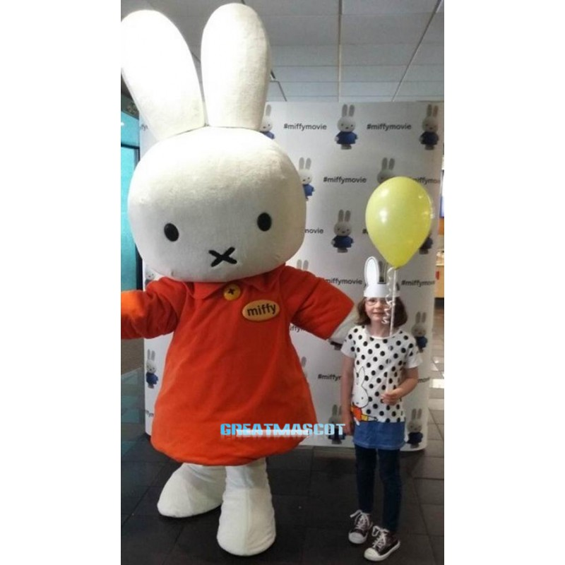 Red Shirt Miffy Rabbit Cartoon Mascot costume Free Shipping