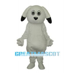 Black Ears White Dog Mascot Adult Costume Free Shipping