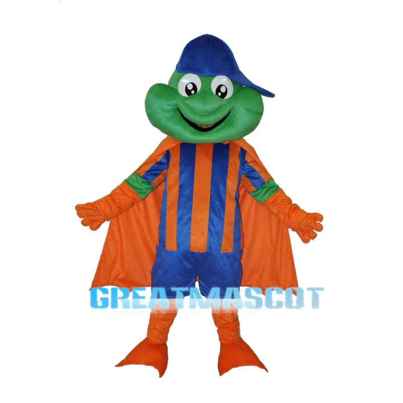Happy Frog with Blue Hat Adult Mascot Costume Free Shipping