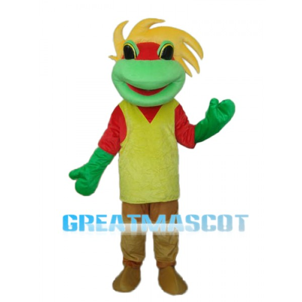 Yellow Green Red Frog Prince Mascot Adult Costume Free Shipping