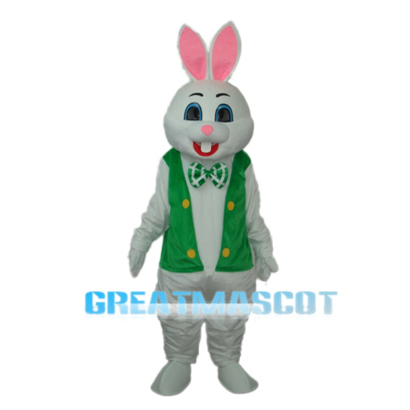 Rabbit with Green Vest Mascot Adult Costume Free Shipping