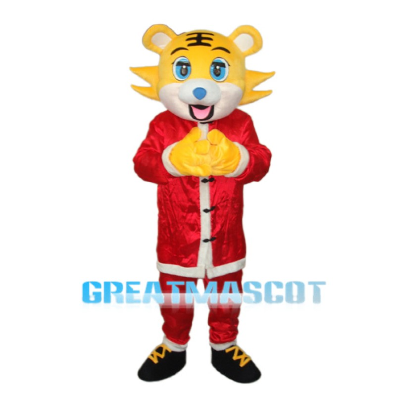 Yellow face Christmas Tiger Mascot Adult Costume Free Shipping