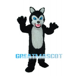 Long-haired Black White Wolf Mascot Adult Costume Free Shipping