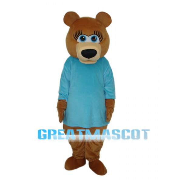 Ms.Bear in Blue T-shirt Mascot Adult Costume Free Shipping