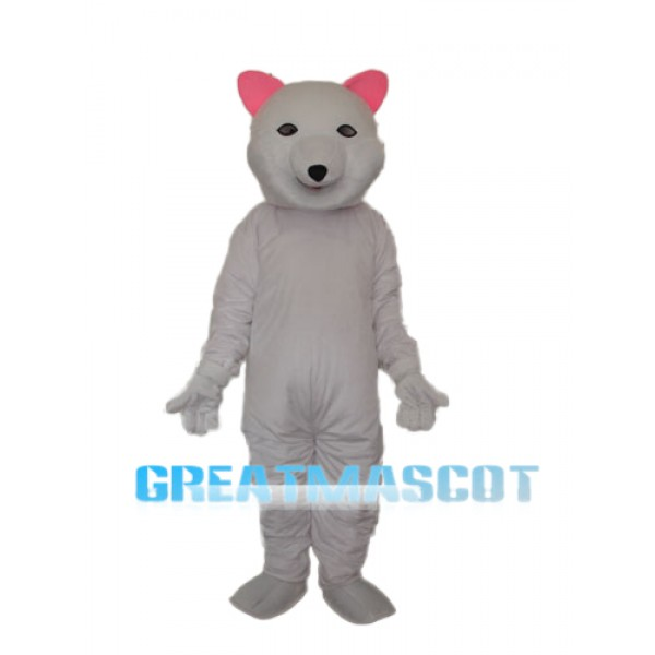 Pink Ears Polar Bear Mascot Adult Costume Free Shipping