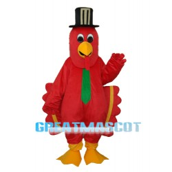 Red Bird with Black Hat Mascot Adult Costume Free Shipping