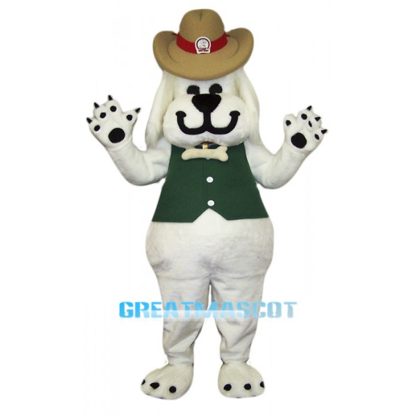 Smiling White Dog Mascot Costume