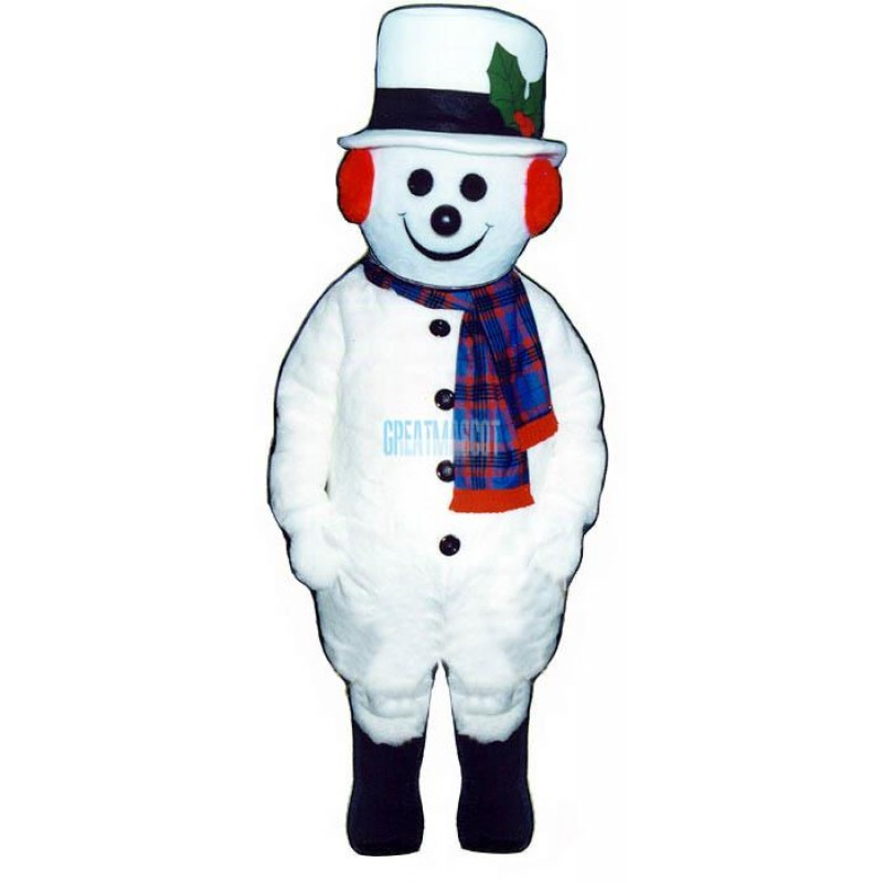 Extra Round Snowman w Hat Scarf Mascot Costume
