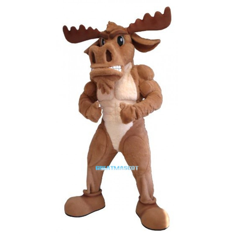 Power Muscly Moose Mascot Costume