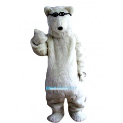 Glasses White Polar Bears Mascot Costume