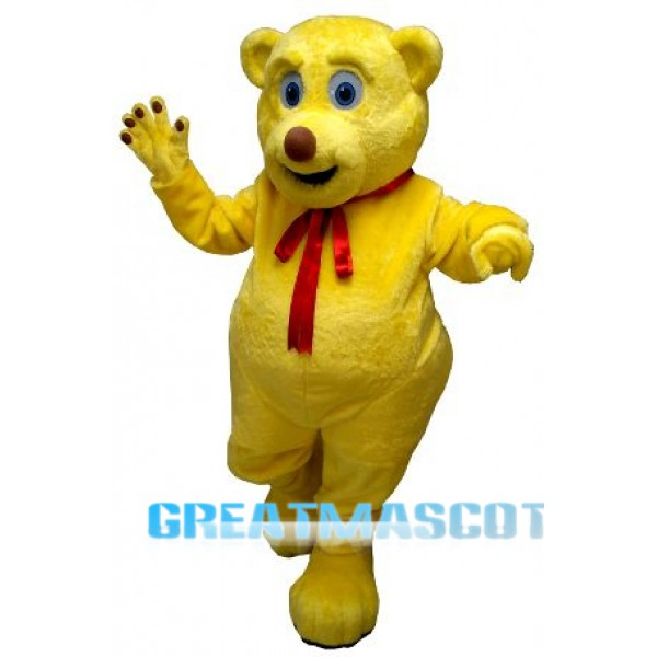 Cute Yellow Bear Mascot Costume