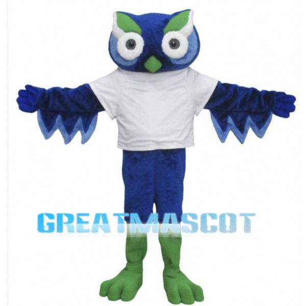 Cute Blue Owl Mascot Costume