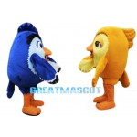 College Blue and Yellow Bird Mascot Costume