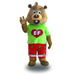 Fancy Cute Green Coat Bear Mascot Costume Free Shiping