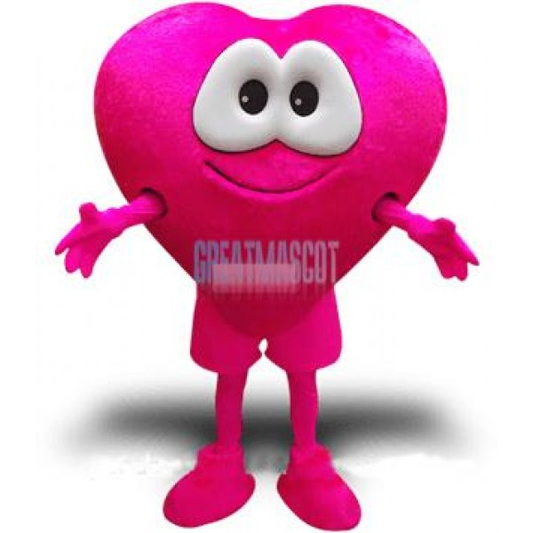 Rose Pink Love Heart Mascot Costume Benevolence Costume for Adult