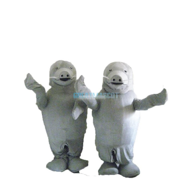 Attractive Gray Sea Cow Mascot Costume for Adult Free Shipping