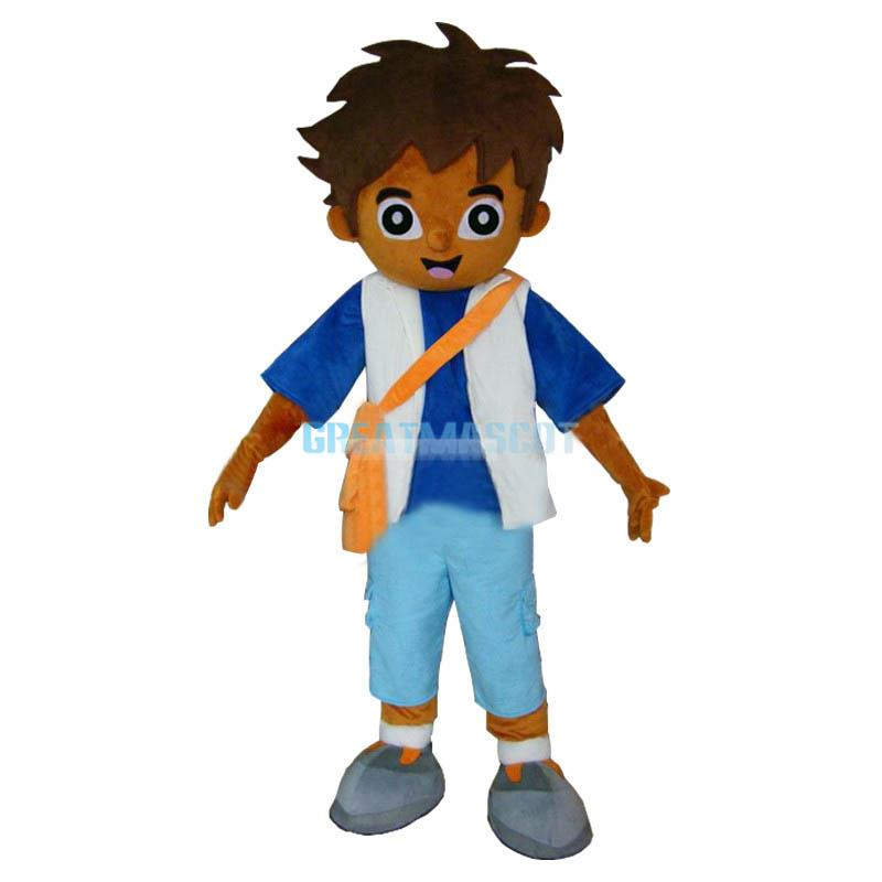 High Quality Adult Explorer Boy Diego Mascot Costume