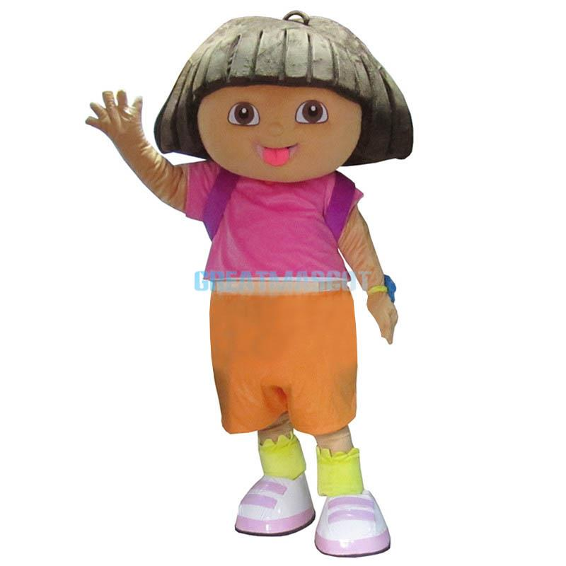 New Explorer Girl Dora Mascot Costume Fancy Dress Outfit Adult Free Shipping