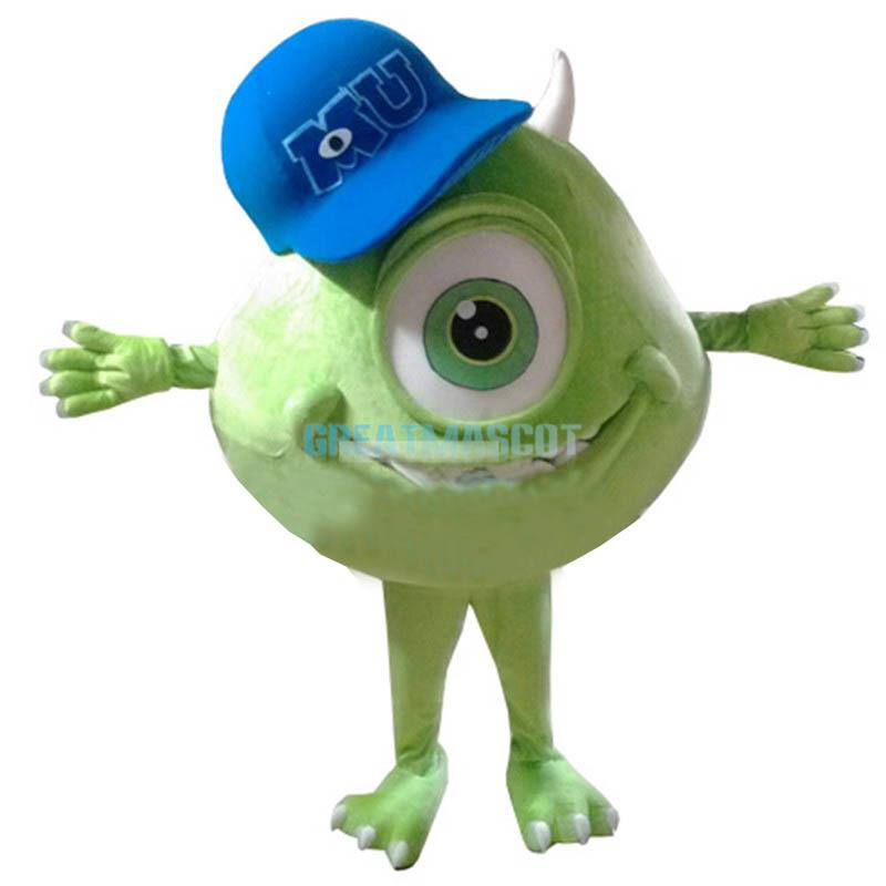Mike Wazowski Mascot Costume From Monsters University Fancy Dress Free Shipping