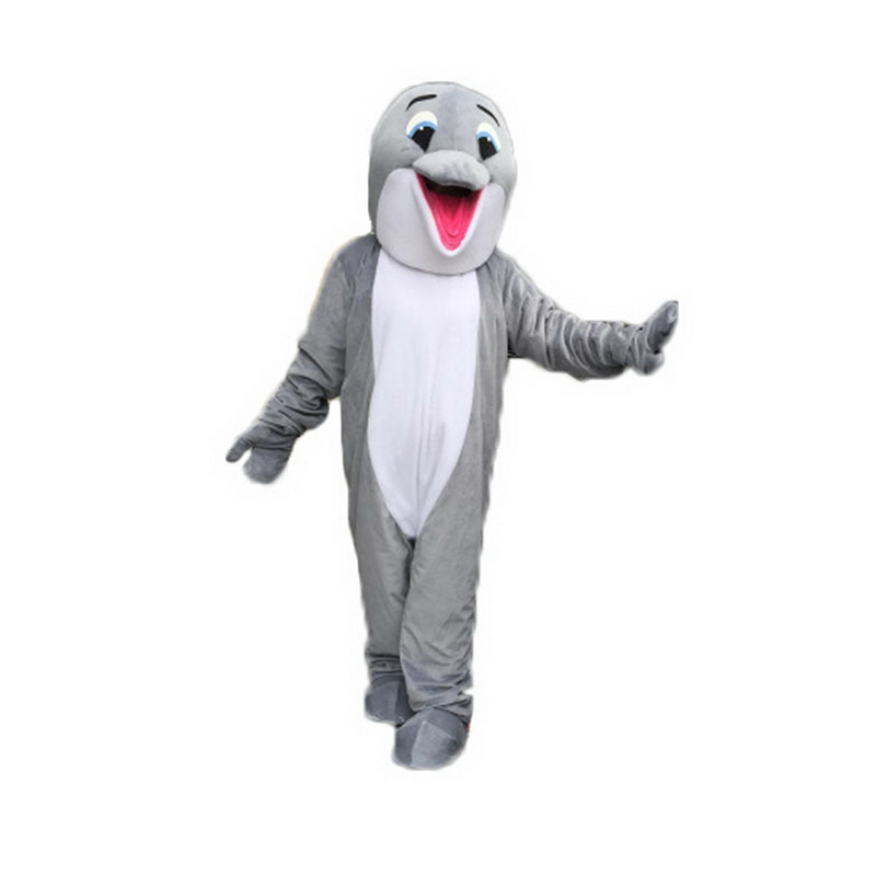 Gray Happy Dolphin Mascot Costume