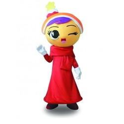 Doll Girl Red Dress Girl Mascot Costume